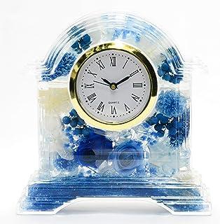 Lulu's ルルズ ハーバリウム 花時計 Flower clock ブルー プリザーブドフラワー ドライフラワー サイズ:高さ14×幅13×奥行4cm 時計文字盤ローマ数字ブルー Lulu's-0498