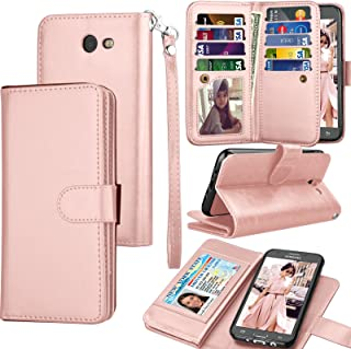 Tekcoo Compatible for Galaxy J7 Sky Pro / J7 V / J7 Prim / J7 Perx/Samsung Halo / J7 2017 PU Leather Wallet Case, Credit Card Slots Carrying Flip Cover [Detachable Magnetic Case] Kickstand Rgold