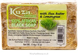 Kuza Naturals 100% African Black Soap With Shea Butter & Lemongrass 4oz