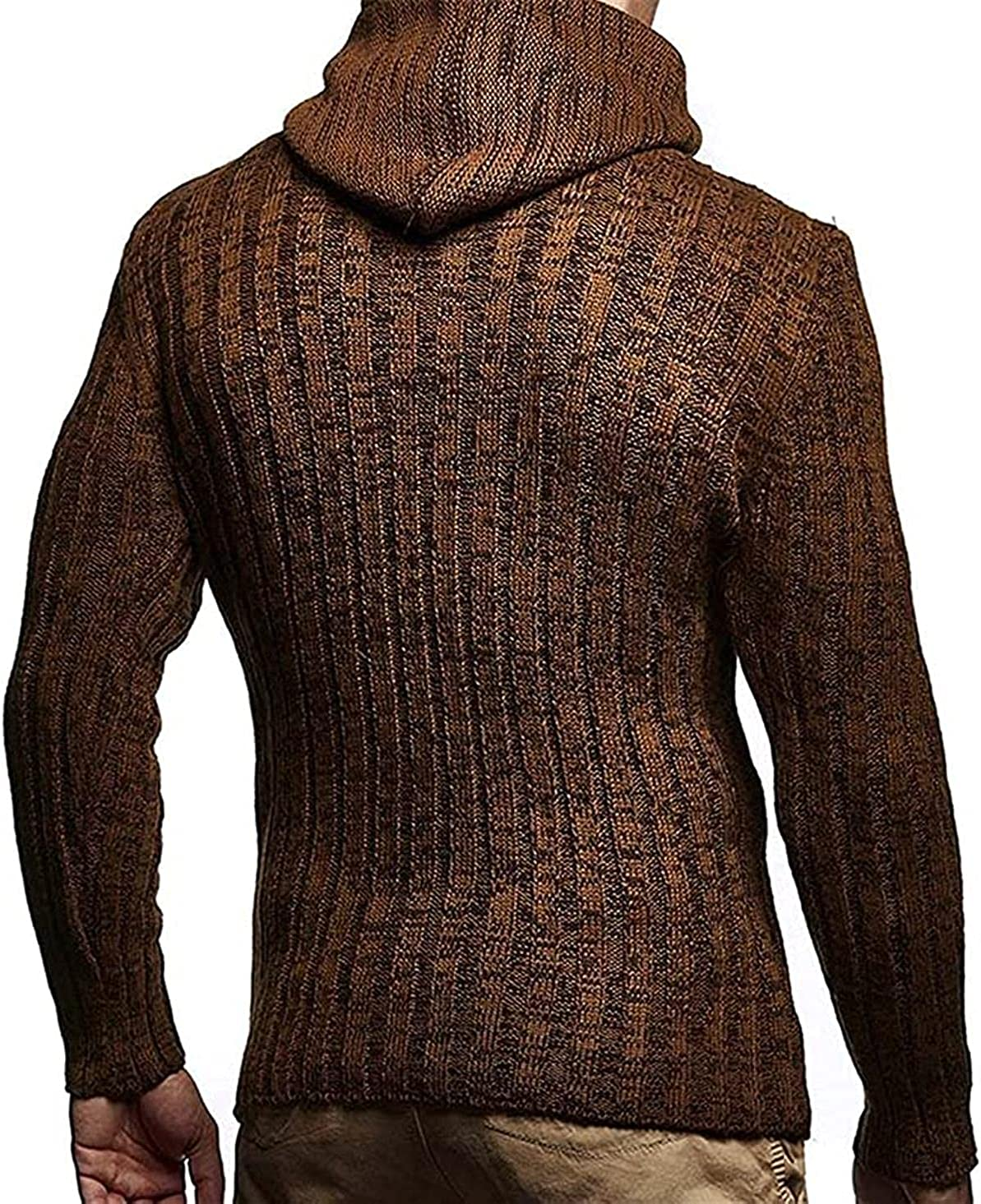 JOAOL Mens Autumn Winter Hooded Sweater Men Warm Slim Fit Knitted Sweater Pullover