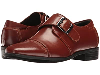 Stacy Adams Kids Macmillian Cap Toe Monk Strap (Little Kid/Big Kid) (Cognac) Boys Shoes