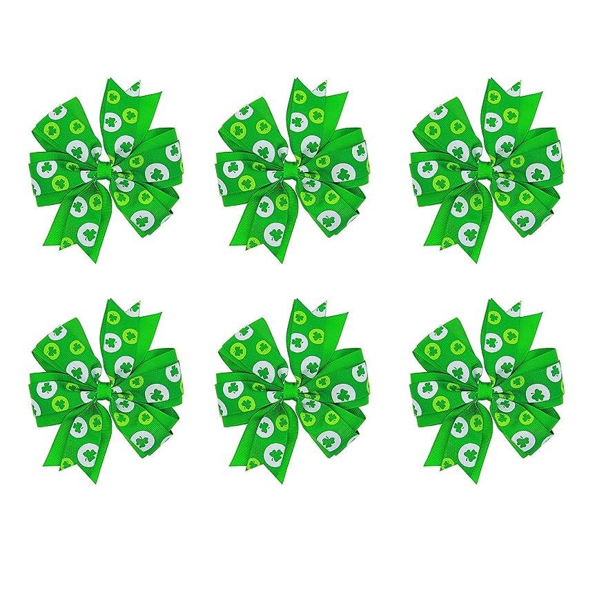 リットルスピン忌避剤ゴシレ [Gosear] 6個のかわいいシャムロック蝶結びの髪弓クリップグリップヘアピンの帽子の女の子子供のためのアクセサリー聖パトリック日