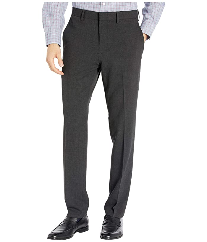 Kenneth Cole Reaction  Stretch Flannel Slim Fit Flat Front Dress Pants (Charcoal Heather) Mens Dress Pants