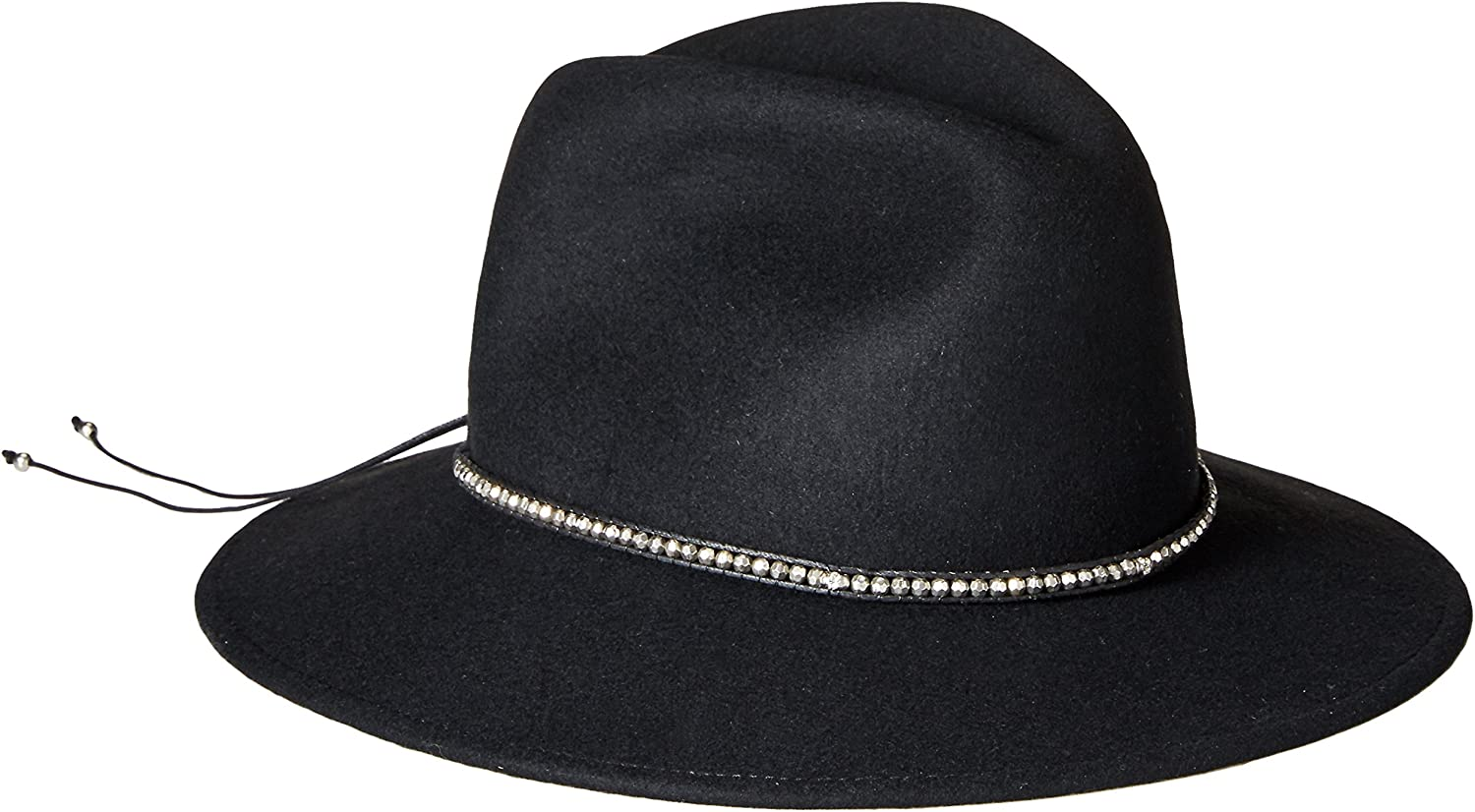 'ale by alessandra Women's Harley Wool Adjustable UPF 50+ Felt Fedora Hat with Skull and Silver Metal Beads