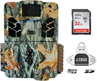 Browning Dark Ops HD PRO X 2019 Trail Game Camera (20MP) with 32GB Memory Card and J-TECH iPhone/iPad/Android USB Memory Card Reader | BTC6HDPX