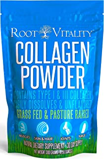 Root Vitality Collagen Powder, Collagen Peptides, Grass Fed, Premium Quality Collagen Protein, Pasture Raised, Easily Diss...