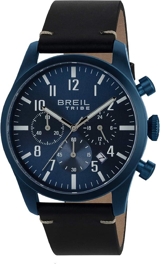 Breil orologio cronografo per uomo con cassa in acciaio inossidabile e cinturino in vera pelle 7612901733616