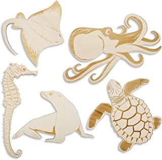 5-Pack Wood Ocean Sea Life Cutouts for DIY Crafts and Painting, 5 Designs, Assorted Sizes