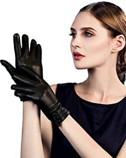 YISEVEN Womens Winter Driving Touchscreen Leather Gloves Wool Lined Buttoned Cuff