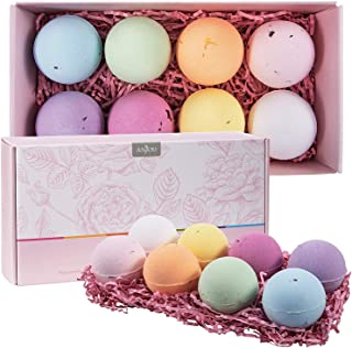 Bath Bombs Gift Set, Anjou 8 x 4.0 oz Vegan Natural Essential Oils, lush Fizzy Spa Moisturizes Dry Skin, Bubble Baths, Perfect Gift Kit Ideas for Women, Girlfriends, Moms