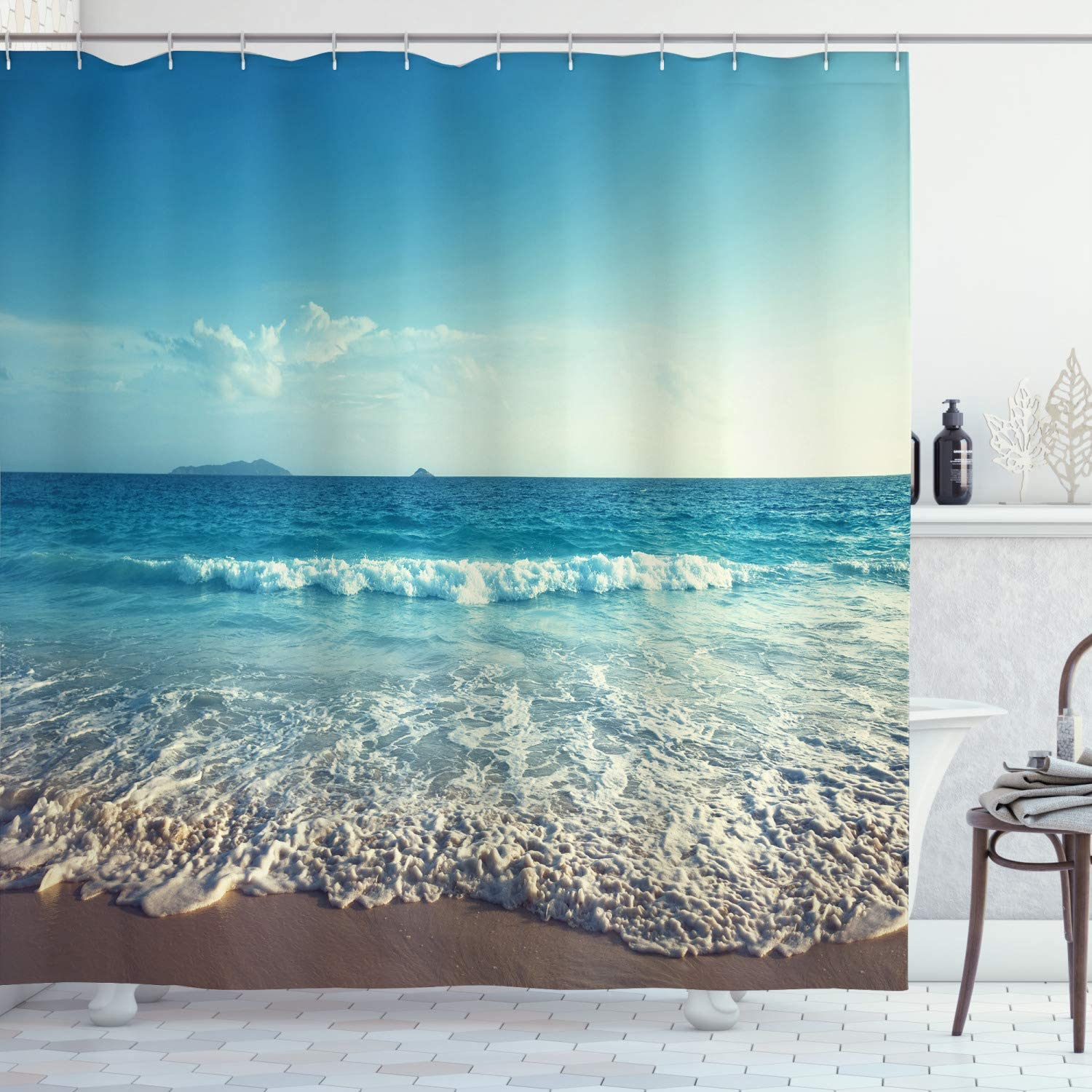 Atlanta Mall Ambesonne Modern Shower Curtain Our shop OFFers the best service Sunset Beach Seychelles on Summ