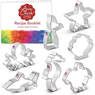 Ann Clark Cookie Cutters 7-Piece Under The Sea Cookie Cutter Set with Recipe Booklet, Seashell, Octopus, Seahorse, Shark, ...