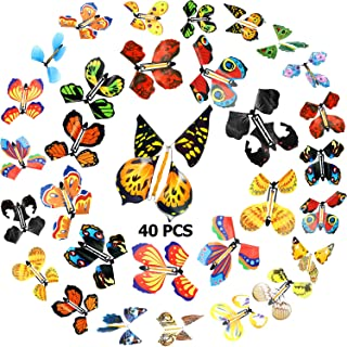 Sumind 40 Pieces Magic Flying Butterfly Wind up Fairy Butterfly in The Book Romantic Rubber Band Powered Butterfly Toys fo...