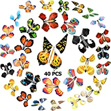 40 Pieces Magic Flying Butterflies Wind up Fairy Butterfly in The Book Romantic Rubber Band Powered Butterfly Toys for Bir...