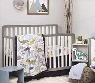 NoJo 4 Piece Nursery Crib Bedding Set, Little Dinosaurs, Grey/Navy/Blue/Green