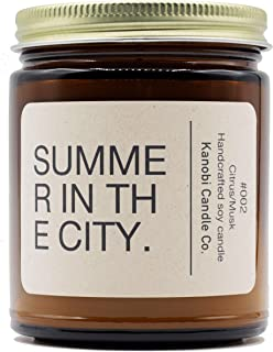 Kanobi Candle Co. Scented Soy Candle: 100% All Natural Soy Wax, Phthalate-Free Premium Fragrance, Lead-Free and Zinc-Free Cotton Wick, Long-Lasting, Clean Burn. (Summer in The City)