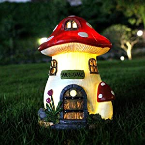 Outdoor Garden Statues, Resin Mushroom Fairy House with Solar Outdoor Garden Decoration, used to Decorate Lawn, Garden, Yard.