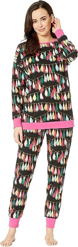 Long Sleeve Crew Neck Pajama Set