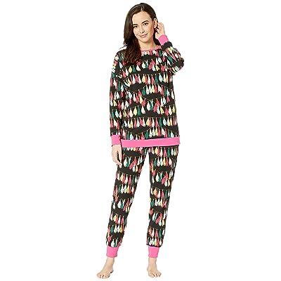 BedHead Pajamas Long Sleeve Crew Neck Pajama Set (Festive Fringe) Women