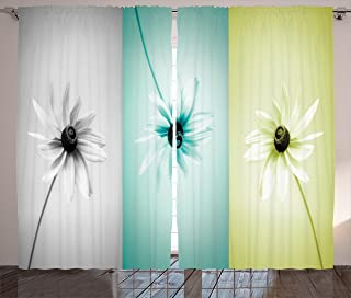 Ambesonne Abstract Curtains, Daisy Flowers in Different Featured Framed Saturated Image, Living Room Bedroom Window Drapes 2 Panel Set, 108