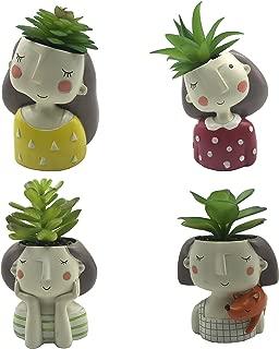 4 PCS Set Cute Girls Shaped Succulent Cactus Flower Pot/Plant Pots/Planter/Container for Home Garden Office Desktop Decoration (Plants Not Included)
