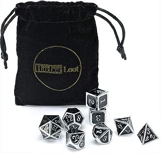 Harbor Loot Full Metal Dice Set Plus Extra D6 Total 8 Piece Metal Polyhedral Dice Set