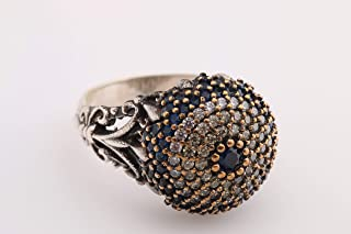 Evil Eye Protection Turkish Nazar Handmade Jewelry 925 Sterling Silver Round Cut Sapphire Citrine White Topaz Ring All Size