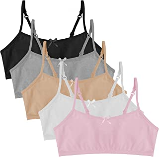 Girl's Cotton Cami Crop Bra with Adjustable Straps - 5 Pack
