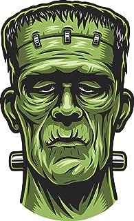 Scary Halloween Undead Green Frankenstein Head Cartoon Vinyl Sticker (2