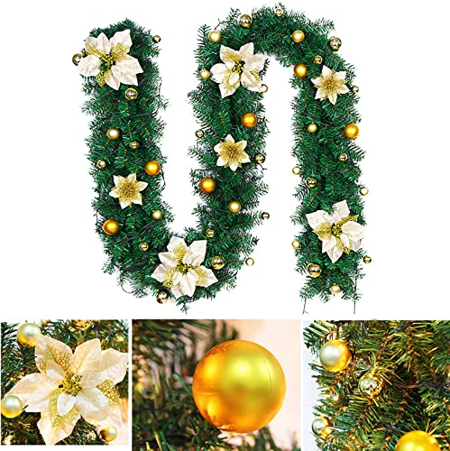 discount OPTIMISTIC Garland Christmas Decorations with LED String Lights, high quality Christmas sale Greenery Pine Cones Prelit Garland Xmas Decoration Indoor Outdoor Holiday Decorations with Ball Ornament, 8.5 Inch (Yellow) outlet sale