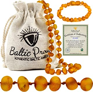 Raw Baltic Amber Necklace and Bracelet Gift Set (Unisex Honey Raw 12.5 Inches/5.5 Inches) - Certified Premium Quality Raw ...