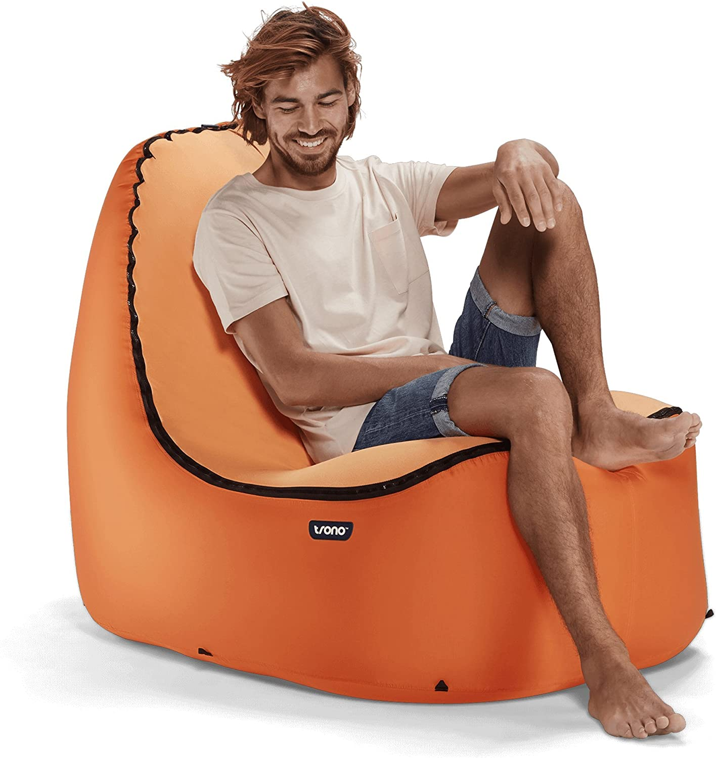 Trono Inflatable Lounge Chair W NoStrain Back Support   Don'T Settle For A Laying On A Hammock Lounger, Hangout On An EasyInflate Comfy Compact Lightweight Durable Outdoor Sofa Couch Instead