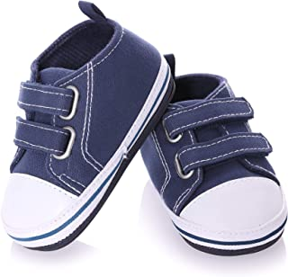NOVCO Unisex Baby Sneakers Toddler Boys Girls Anti-Slip First Walkers Canvas Shoes 0-24 Months