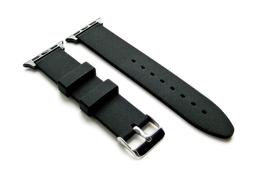 プラス戸惑う受け入れたRubber Sleek Smooth Replacement Band Strap with Attachment Adapters for 38mm Apple Watch Models (B-SMFLT20)