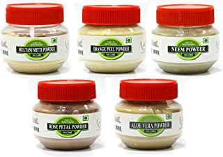 RAINTECH HERBALS Skin Care Combo - Rose Petal Powder 50gm, Orange Peel Powder 50gm, Aloe Vera Powder 50gm, Neem Powder 50g...