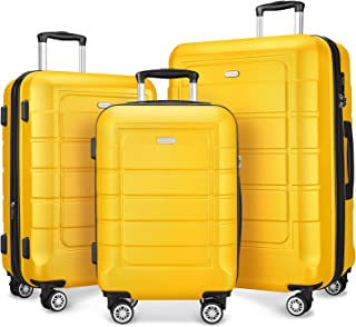 SHOWKOO Luggage Sets Expandable PC+ABS Durable Suitcase Double Wheels TSA Lock Yellow 3pcs