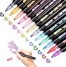 Double Line Outline Pens, Whaline 12 Colors Self-Outline Metallic Markers Glitter Writing Drawing Doodle Dazzle Pens for C...