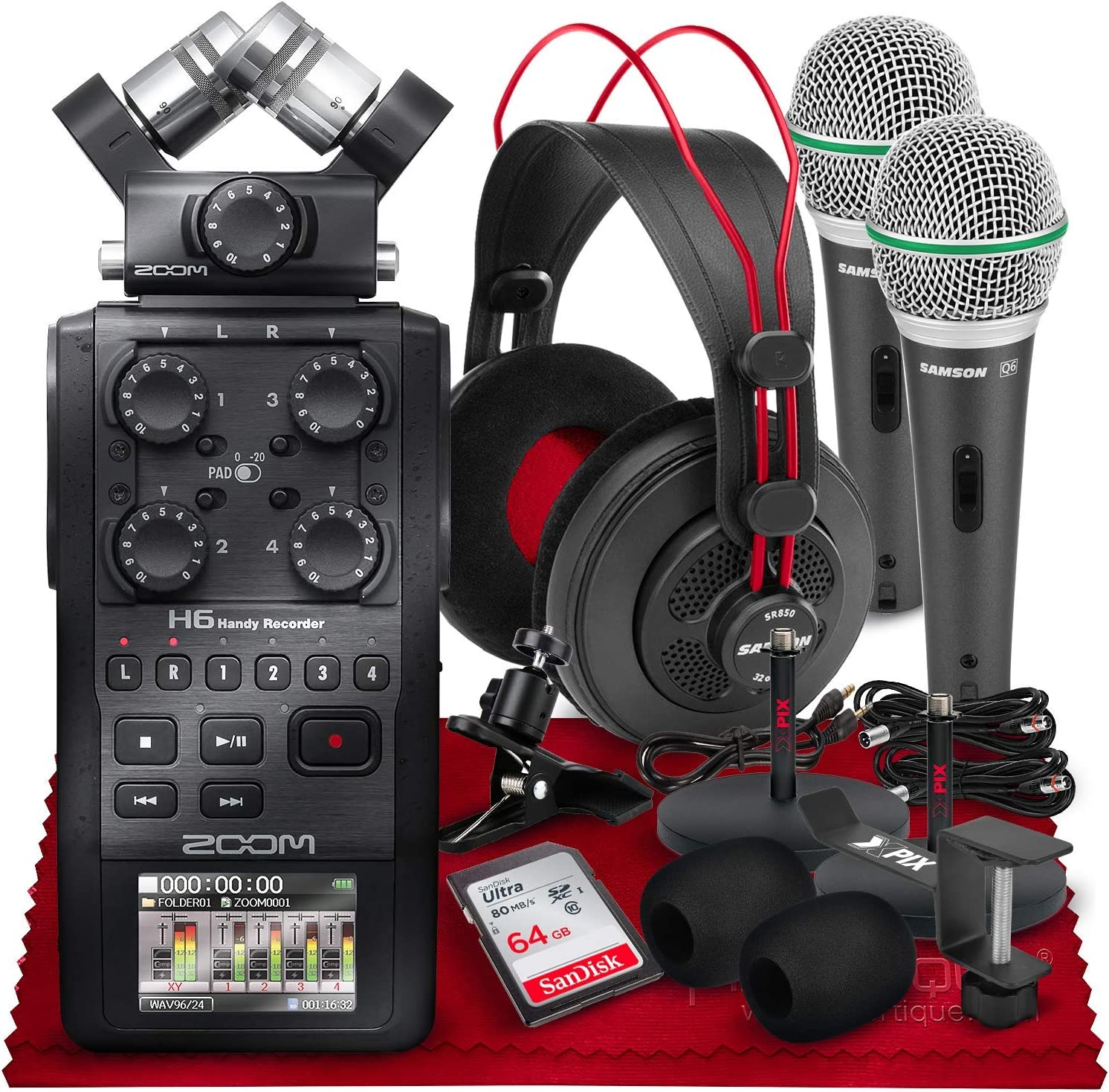 Zoom H6 All Black 6-Input 新入荷 流行 出群 6-Track Portable Handy with Recorder