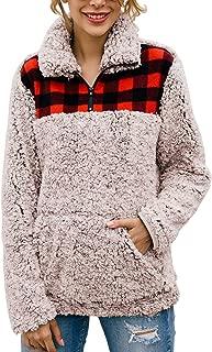 Women Fashion Color-Block Plaid Print Warm Fleece Long Sleeve Sweatshirt Zipper Sherpa Pocket Pullover Jacket Tops