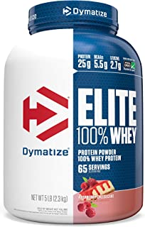 Dymatize Elite 100% Whey Protein Powder, 25g Protein, 5.5g BCAAs & 2.7g L-Leucine, Quick Absorbing & Fast Digesting for Optimal Muscle Recovery, Raspberry Cheesecake, 5 Pound