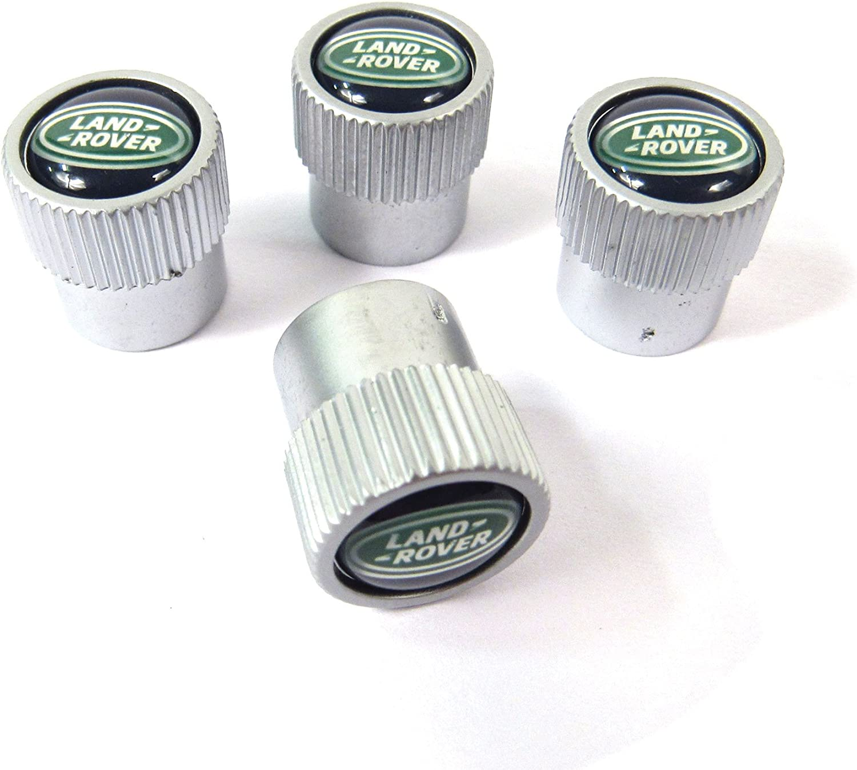 NEW OEM LAND ROVER Range Rover Wheel Tire Black Silver Valve Stem Caps Set of 4