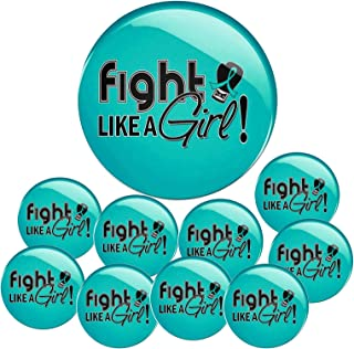 Fight Like a Girl Signature Round Buttons/Pins for Awareness and Support, 10-Pack (Assorted Colors)