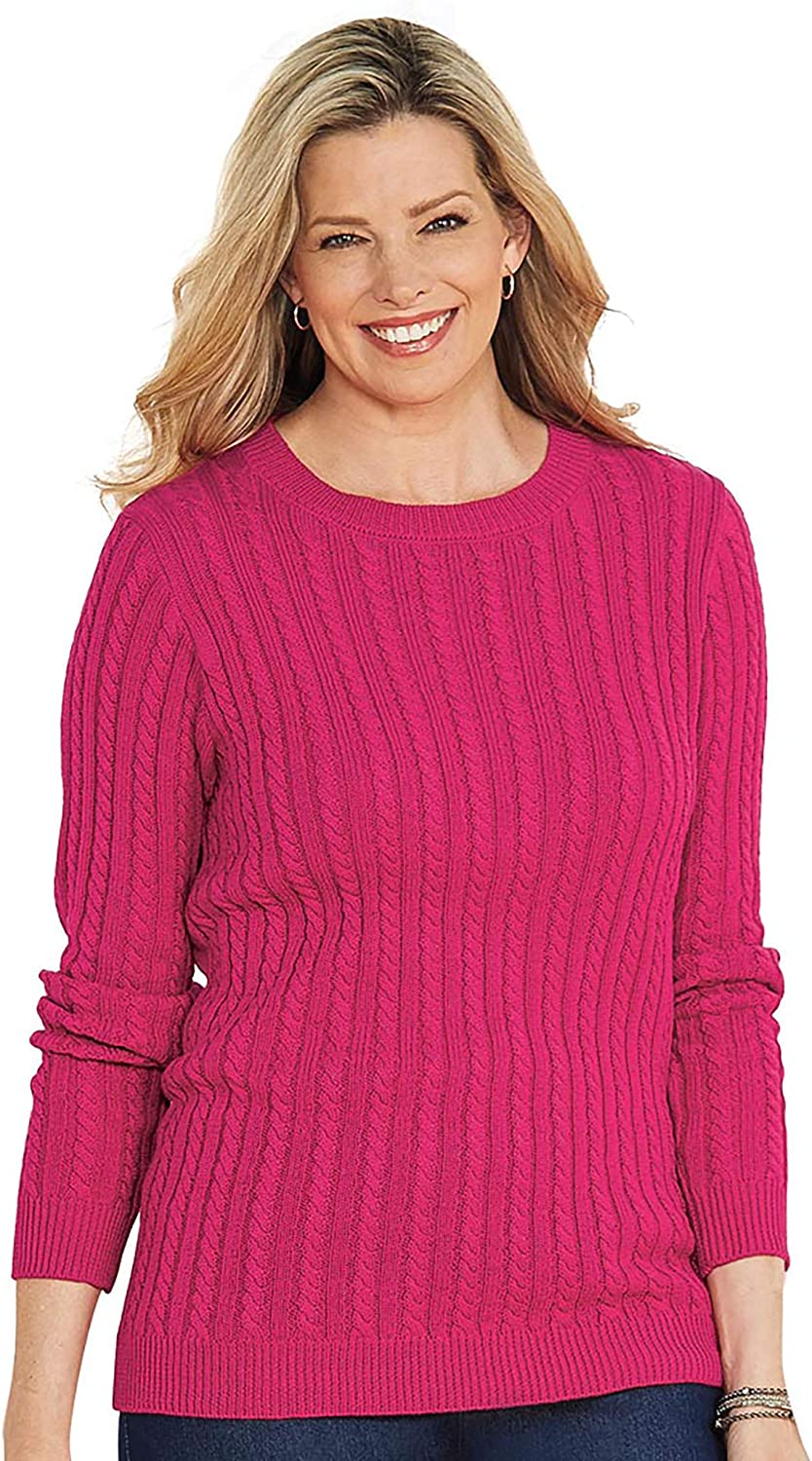 AmeriMark Womens Cable Knit Sweater Crew Neck Pullover Style in Solid Colors