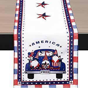 Oudain 4th of July Patriotic Table Runner Independence Day Table Scarf American Flag Tablecloth Table Dwarf Gnome Runners Dresser for Memorial Day Decor, 70 x 13 Inch