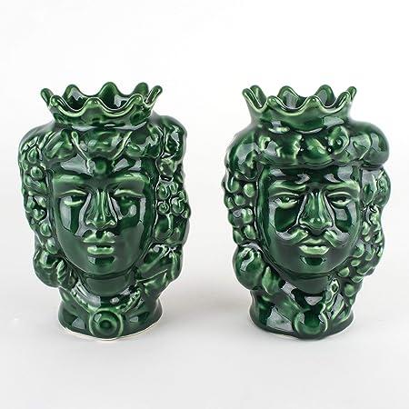 Teste di Moro H cm 14 in Ceramica, Coppia Teste di Moro Caltagirone bomboniere