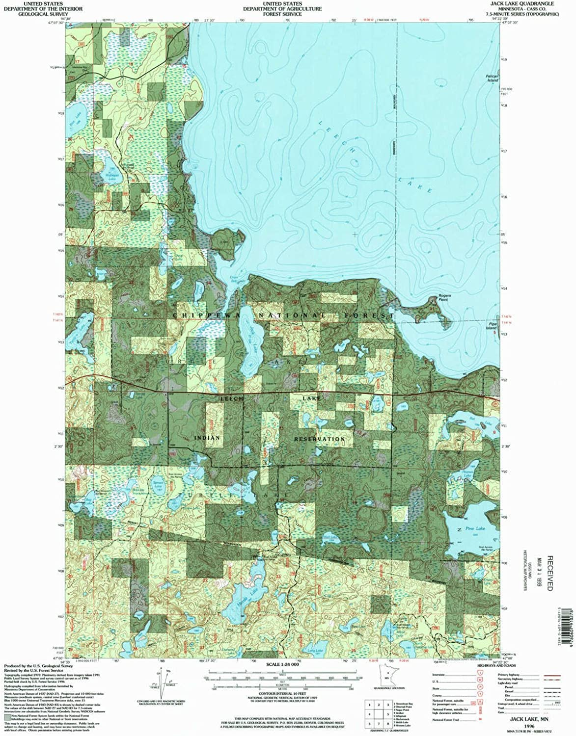 Jack Lake MN topo map, 1 24000 Scale, 7.5 X 7.5 Minute, Historical, 1996, Updated 1998, 27.1 x 21.6 in