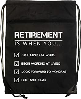 Retirement Rest and Relax Black Denier Nylon Drawstring Style Gym Sling Tote Bag with Zippered Pocket