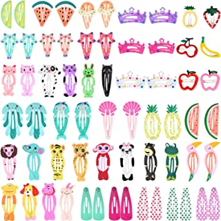 Boao 64 Pieces Hair Clips Barrettes Animal Pattern Metal Snap Hair Pins Cartoon Design Hairpins for Girls Hair Accessories