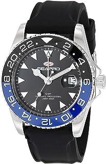 Seapro Men's Agent Stainless Steel Quartz Rubber Strap, Black, 20 Casual Watch (Model: SP0123B)