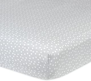Gerber 100% Cotton Fitted Crib Sheet, Gray Dots
